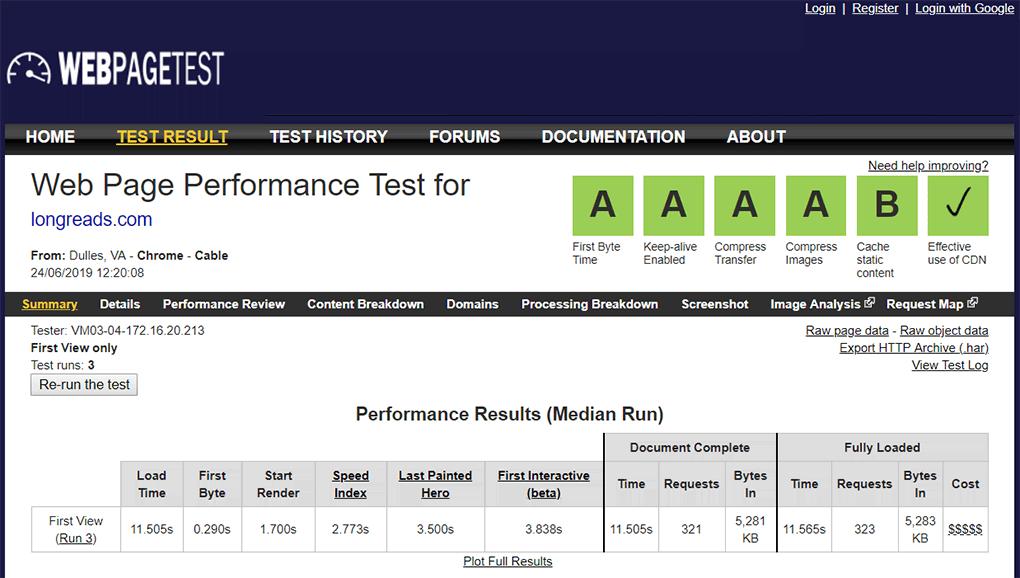 resultado da página longreads no teste do webpagetest