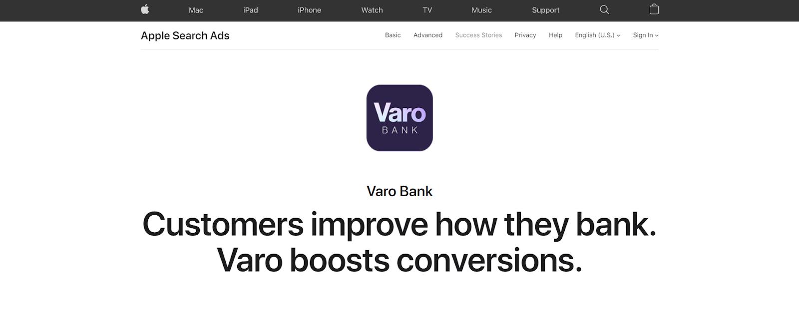 Varo Bank ad with 2 slogans.