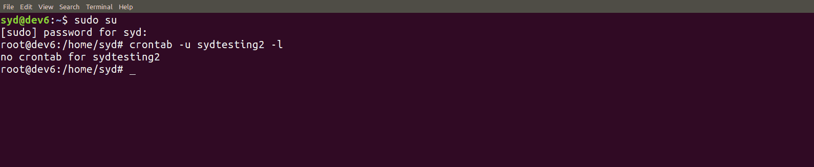exemplo do comando crontab -u username -l no terminal de comando do linux