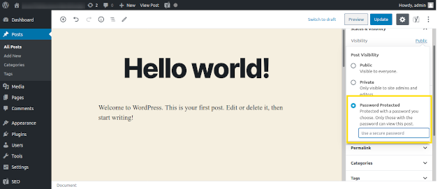 Screenshot of making a WordPress post password protected