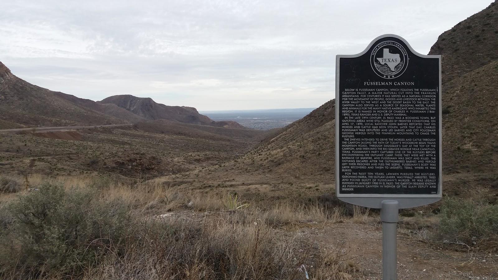 Bike climb Smugglers Pass East - Transmountain Drive - Fusselman canyon historical marker