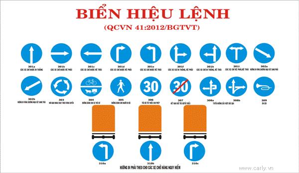 Biển báo hiệu lệnh giao thông đường bộ gồm 10 kiểu khác nhau