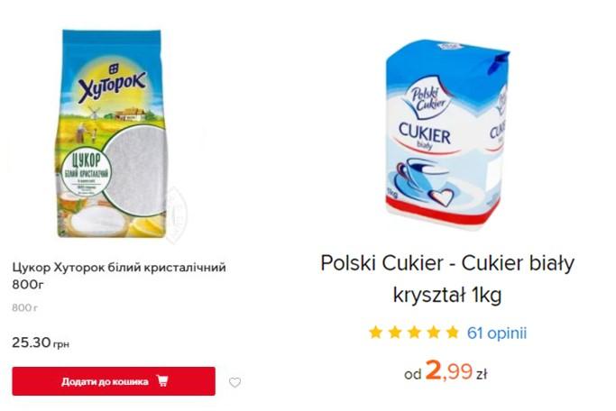Кілограм цукру в Польщі – 20 грн. 800 грам цукру в Україні – 25 грн