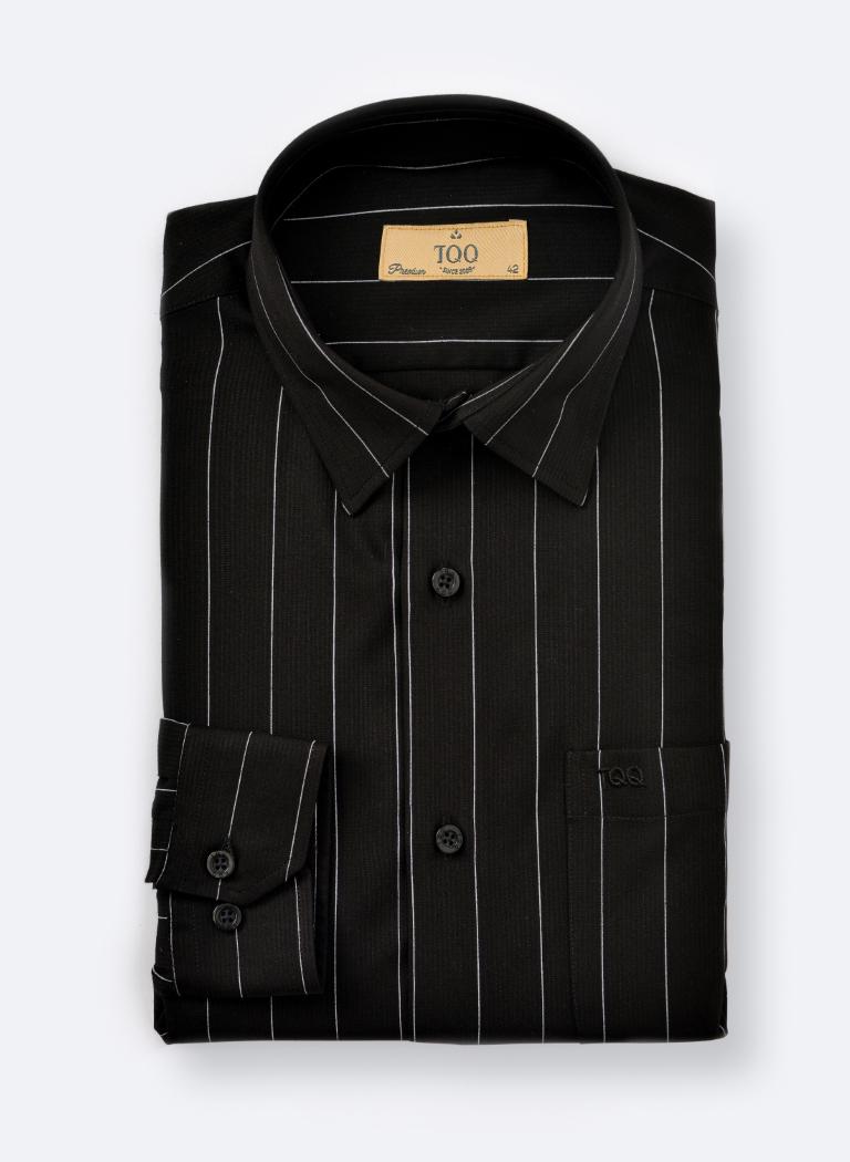 áo sơ mi nam đen họa tiết sọc trắng K380CS