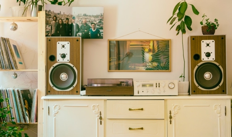 dresser with record player, speakers and house plants