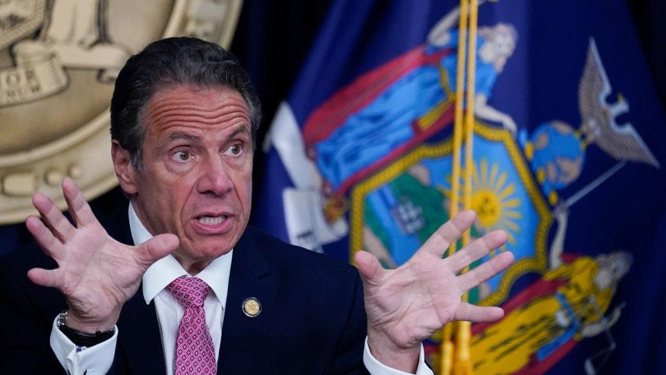 NEW YORK, NEW YORK - MAY 10: New York Gov. Andrew Cuomo speaks during a news conference on May 10, 2021 in New York City. It was announced that both SUNY and CUNY will require students to get COVID-19 vaccines before the next academic year. (Photo by Mary Altaffer-Pool/Getty Images)