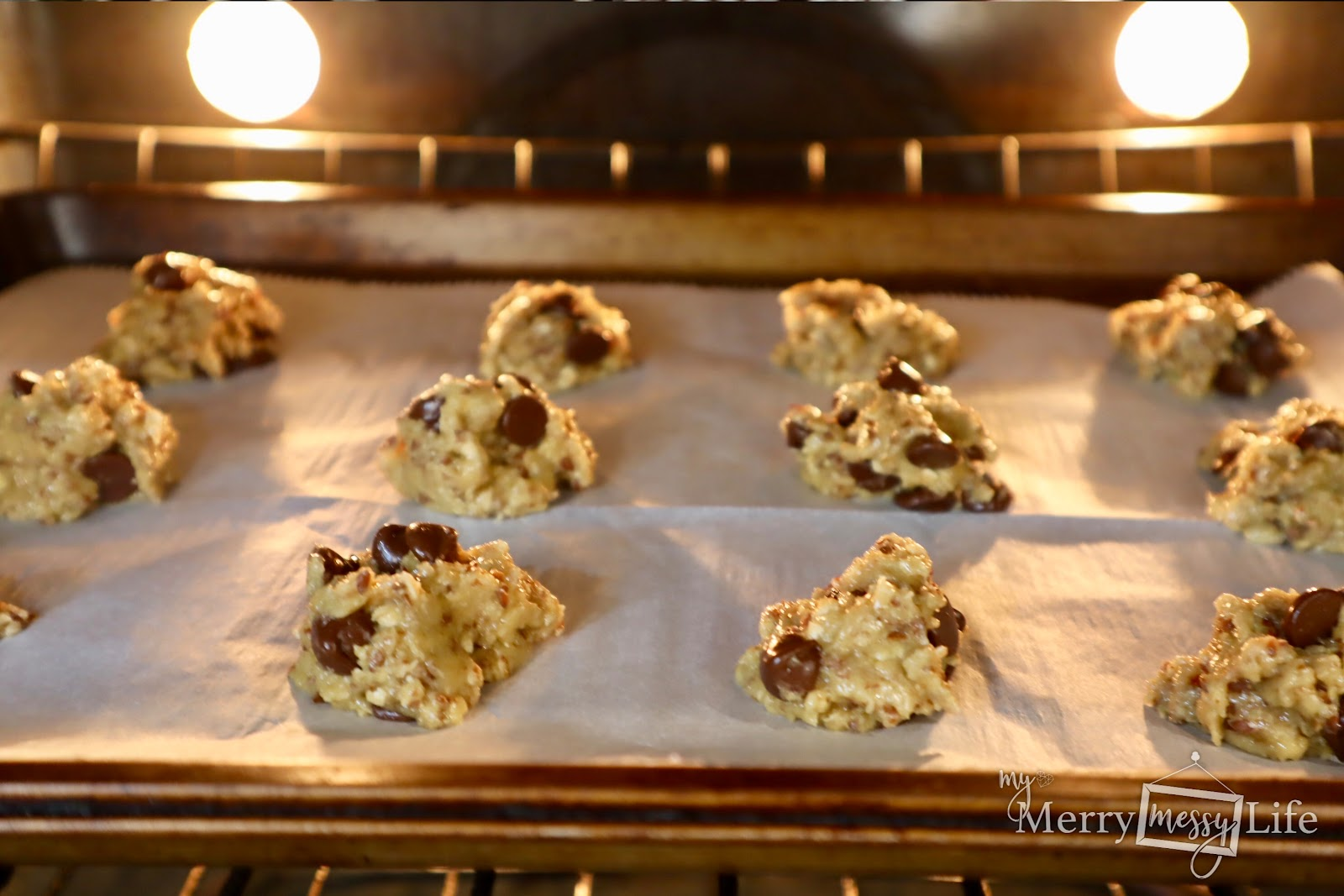 Flax Oatmeal Chocolate Chip Cookies baking