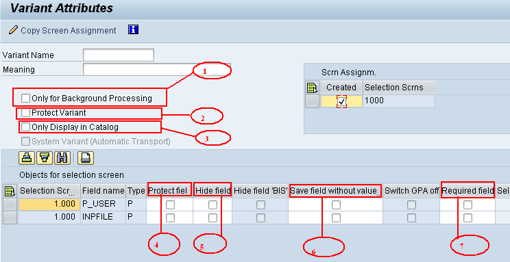 how to create a variant in sap for background job
