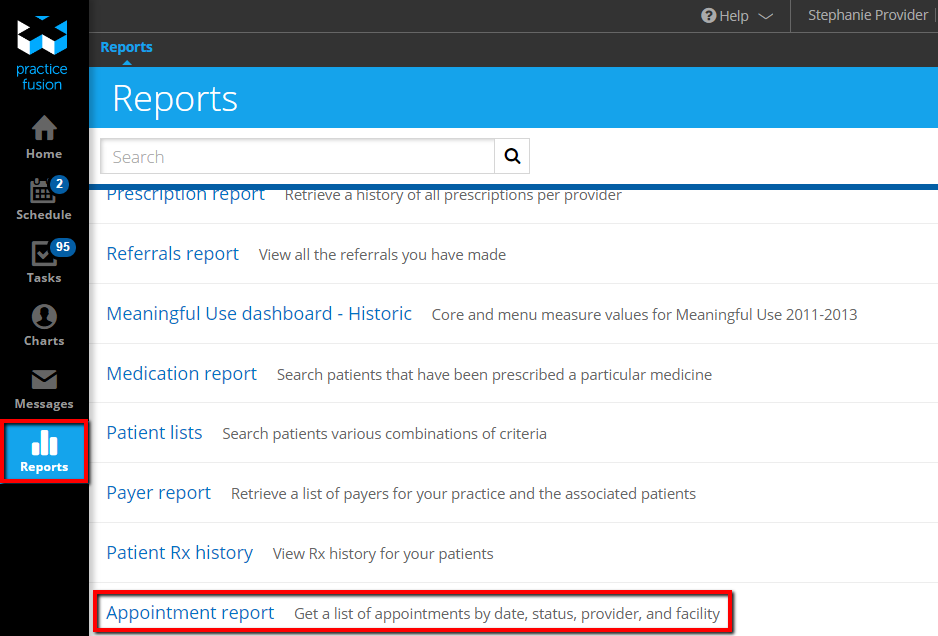 practice fusion report The new patient list report feature allows you to create customized reports about  your patient population based on various combinations of clinical and.