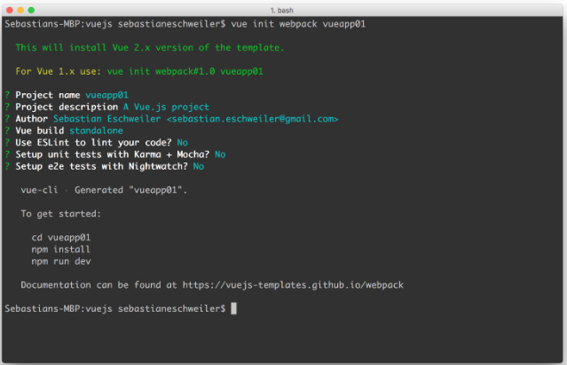 $vue init webpack vueapp01- Vue.js 2