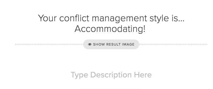 setting up results for conflict management style quiz