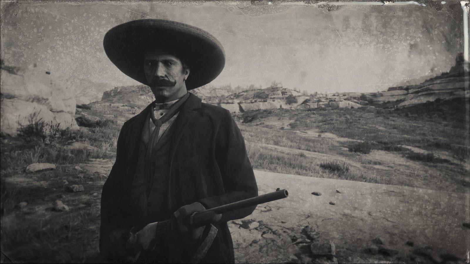 A man with a handlebar mustache holding a gun.