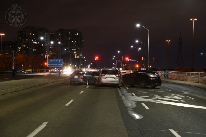 The scene was located in the northbound lanes of Hurontario Street, on the overpass bridge to Rathburn Road, in the City of Mississauga, where a group of motor vehicles involved in a collision was located.