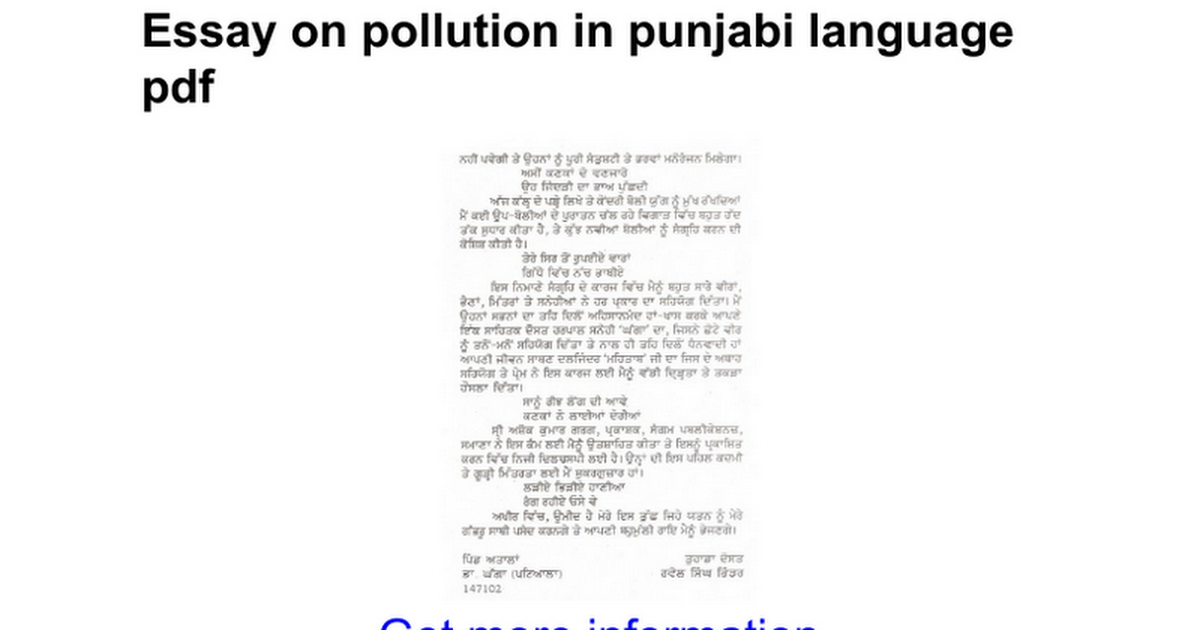 Essay on noise pollution in punjabi language