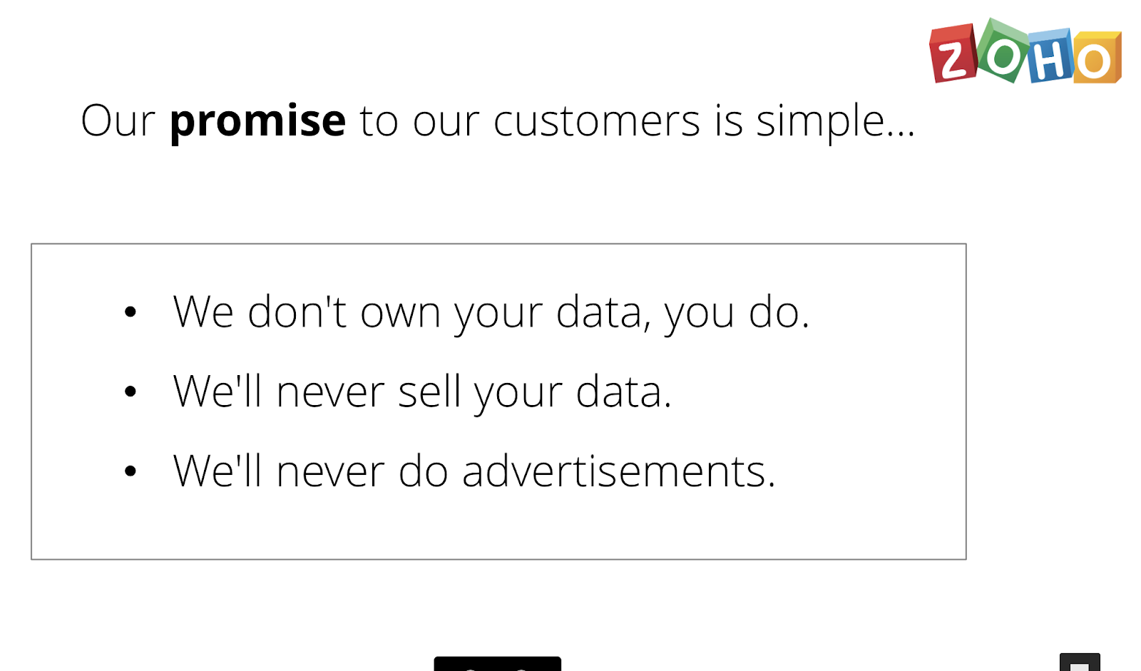 The Zoho promise to customers
