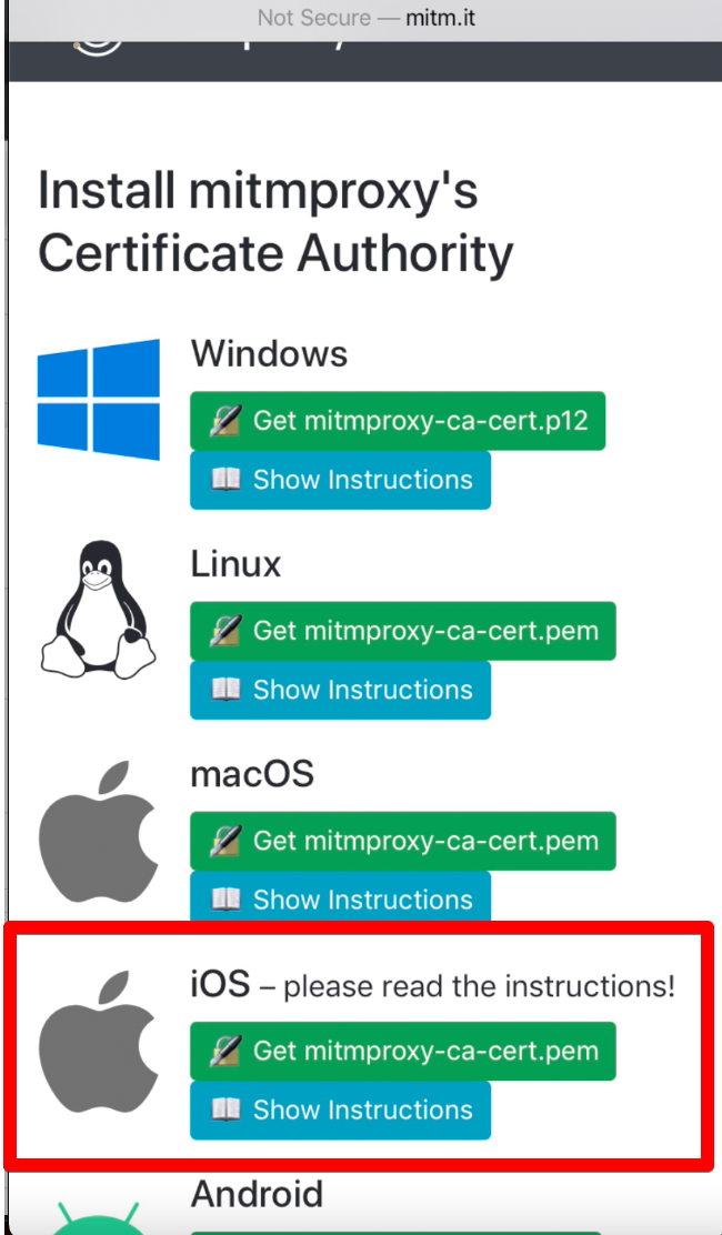 (Download the iOS certificate)