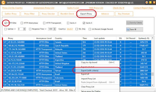 Comment exporter une liste de proxy avec gather premium HTTP élite sécurisé