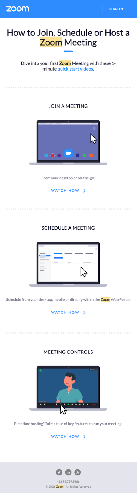 Zoom personalized email content
