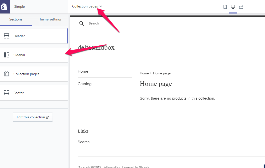 edit Shopify sidebar menu in your Shopify stores