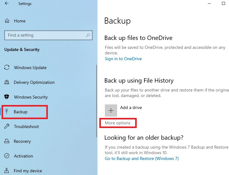 choose More options to access the Backup Options window.