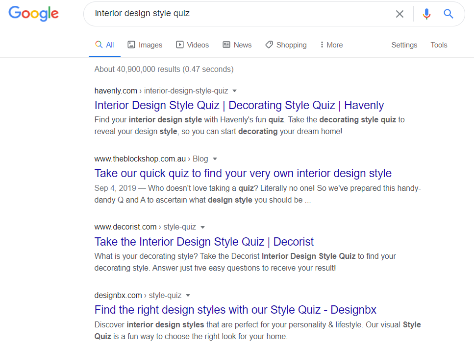 interior design style quiz Google search results