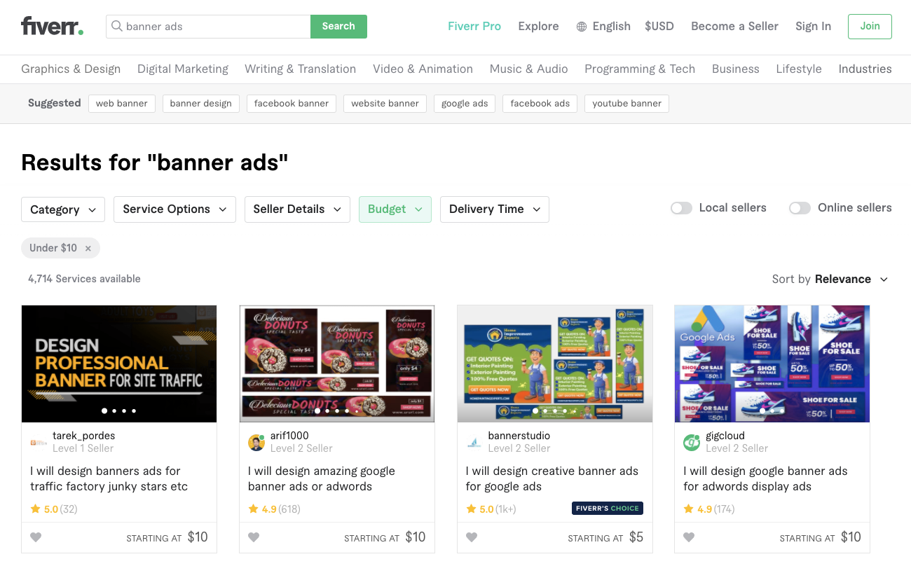 """Search results after searching """"banner ads"""" on Fiverr.com. Example only."""