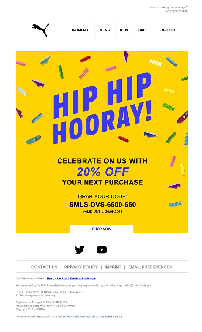 Example of a personalized celebration email with discount from Puma
