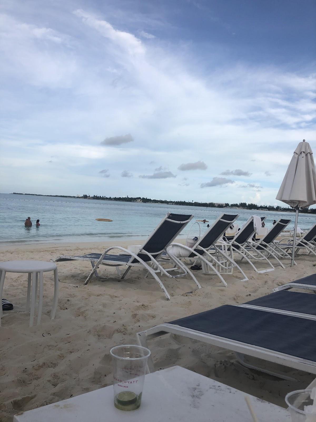 empty beach chairs in Bahamas