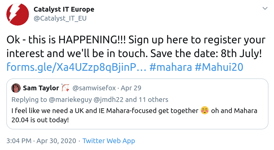 Tweet about an online Mahara Hui