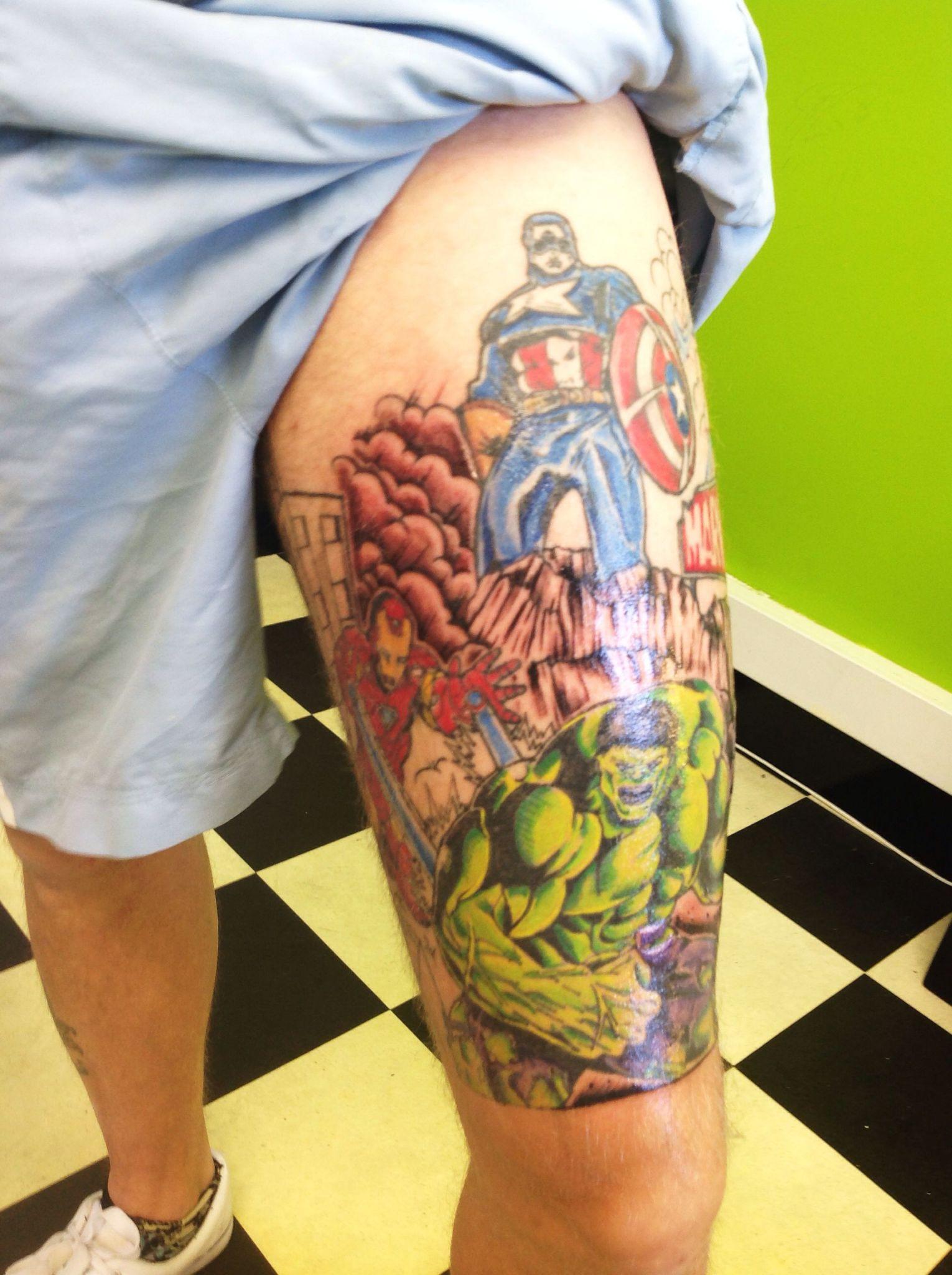 ลายสัก Marvelขา