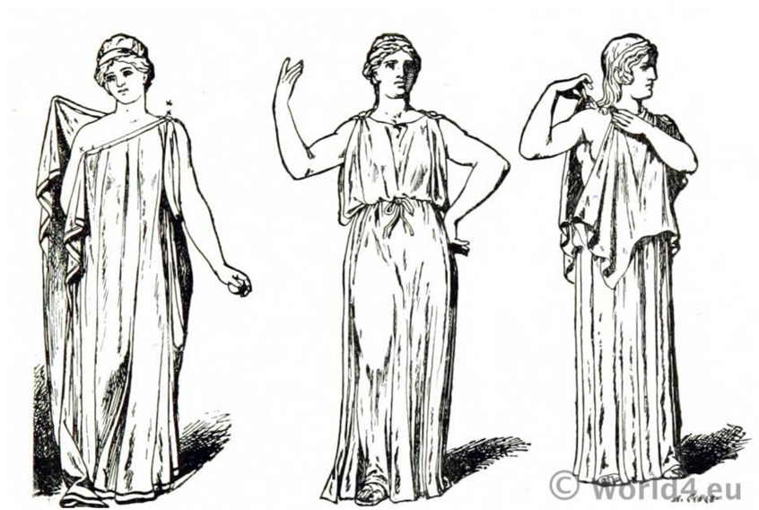 A chiton was a form of clothing in ancient Greece, worn by both the sexes.  There are two forms of chitons, the…   Ancient greek costumes, Greek dress,  Greek costume