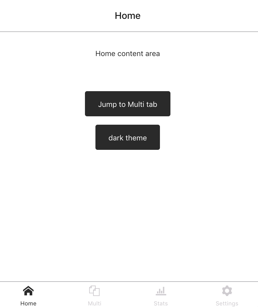 "Home screen of app showing just ""dark mode"""