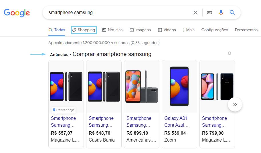 Exibição de anúncio do Google Shopping