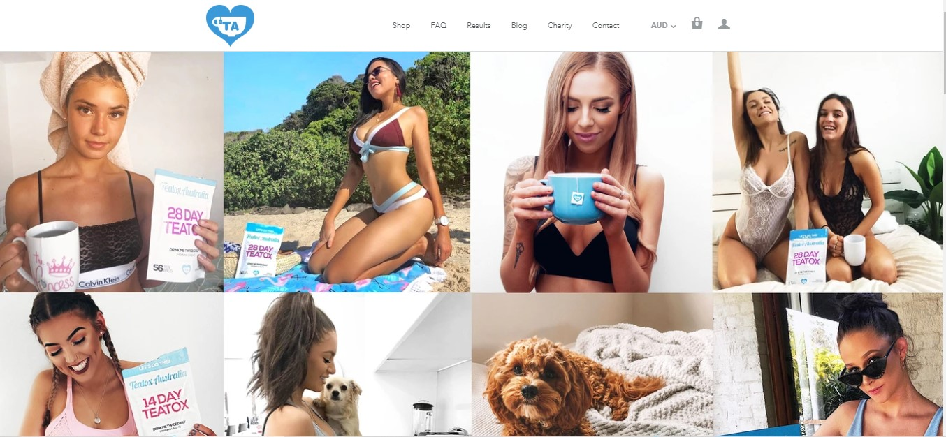 Teatox Australia's landing page- girls drinking tea