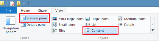 Preview Pane and Content layout selected on File Explorer View tab.