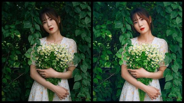 Montagem de duas fotos usando a mesma mulher segurando um buquê de flores, com um vestido florido e em um fundo com várias plantas. Foto 1 sem edições e foto 2 usando o Filtro SI-4