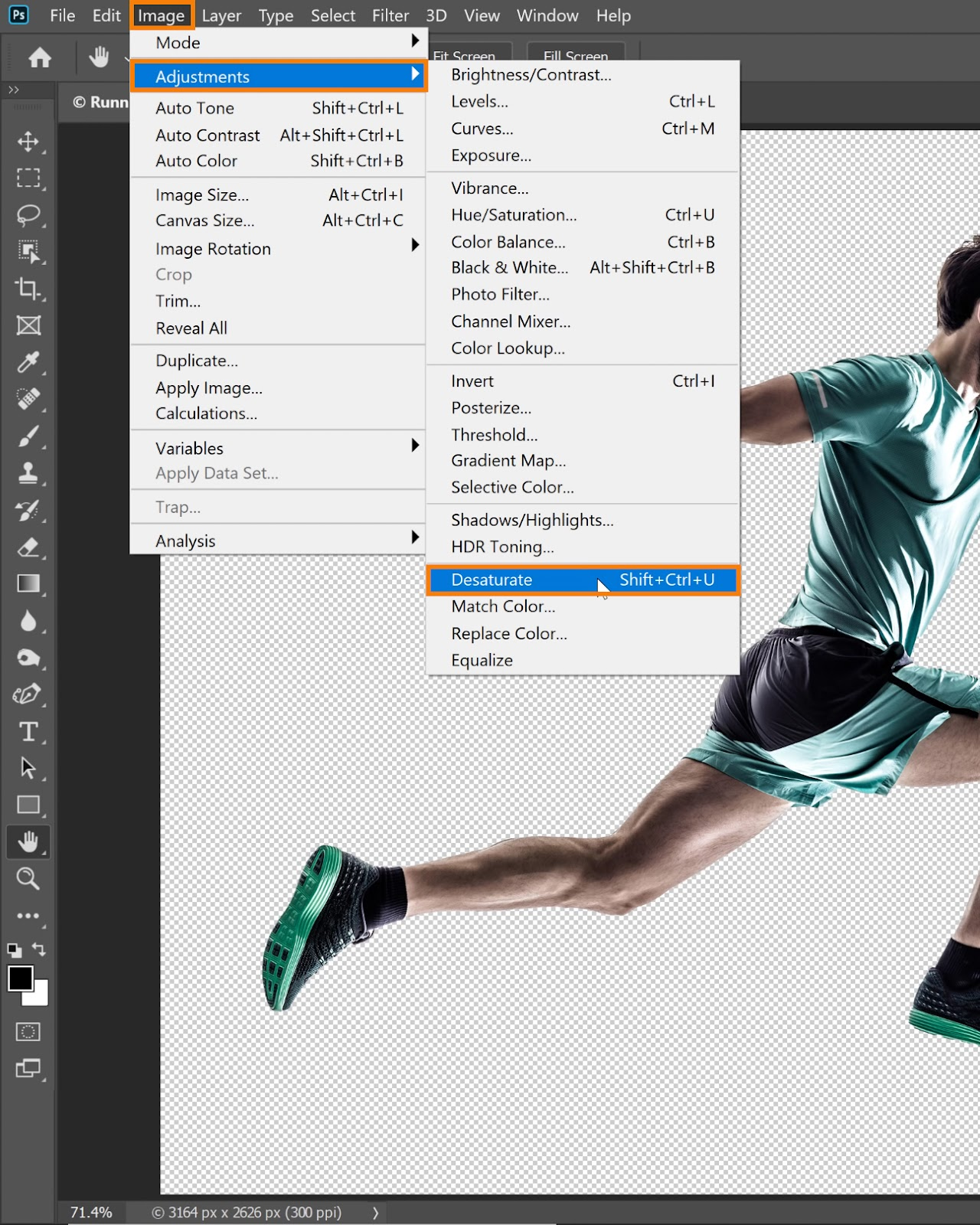 Choose Image > Adjustments  > Desaturate
