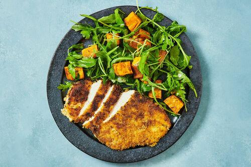 Tex-Mex Chicken Schnitzels with Roasted Sweet Potato and Rocket Salad