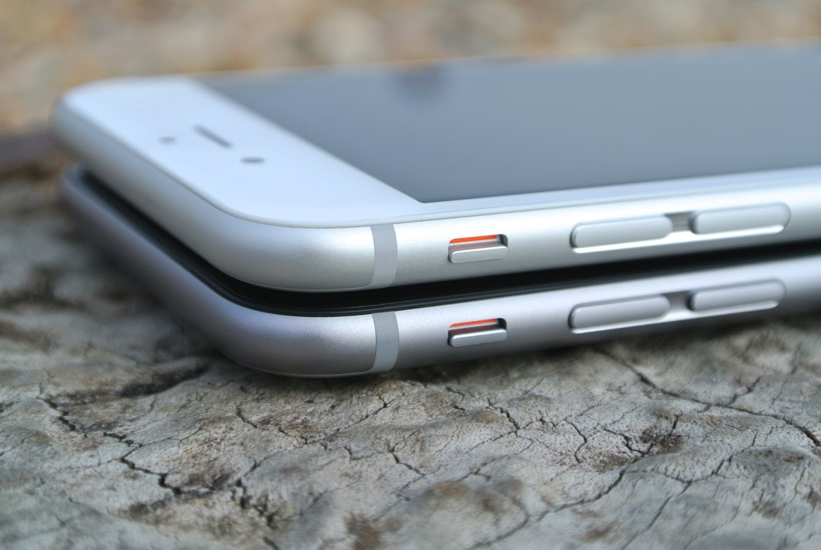 Two iPhones on top of each other