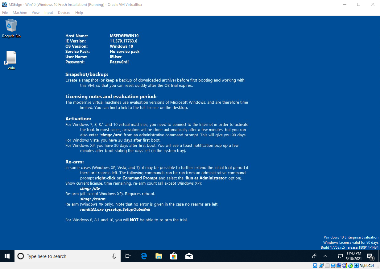 Virtual Hacking Lab - Windows 10 VM. Source: nudesystems.com