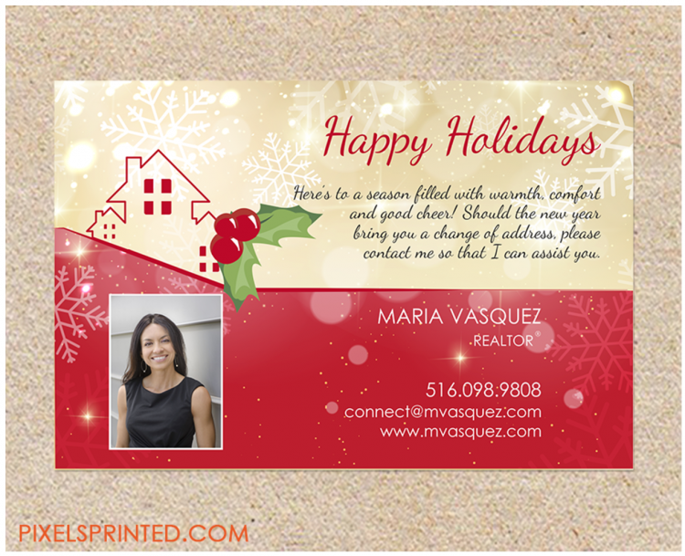 Happy Holidays postcard for real estate agents