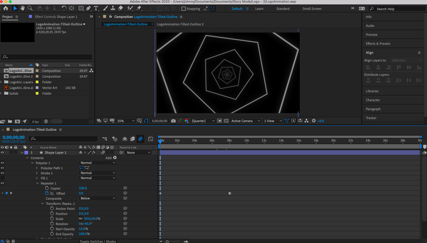 Screenshot of the Adobe After Effect