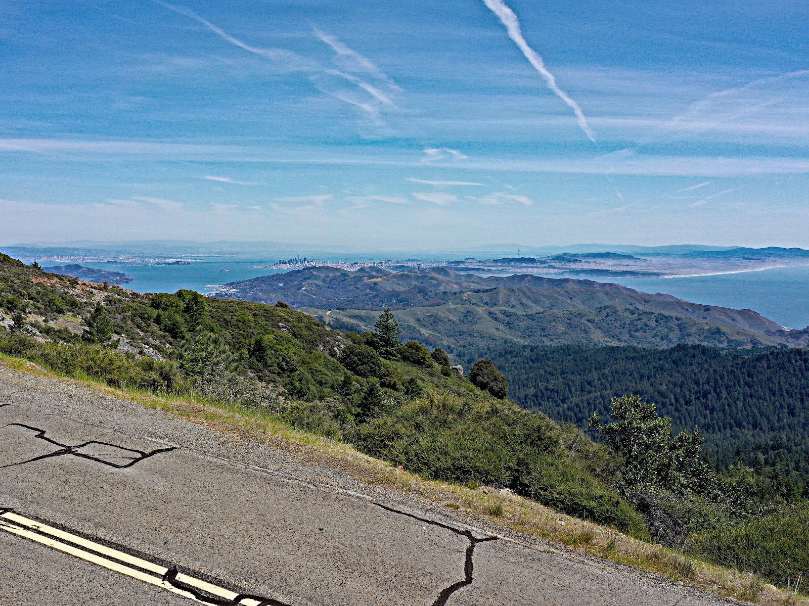 cycling Mt. Tamalpais from Fairfax Bolinas Road - view of San Francisco and the San Francisco Bay from the top.
