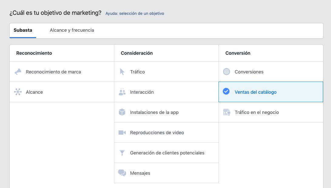 Cómo seleccionar una campaña con objetivo de ventas del catálogo en Facebook.