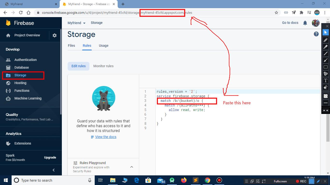 create storage in firebase for facebook clone script
