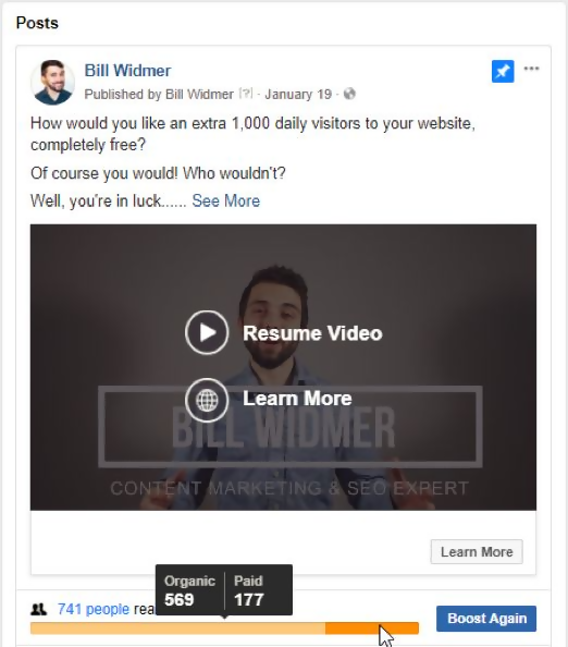boost video post on Facebook