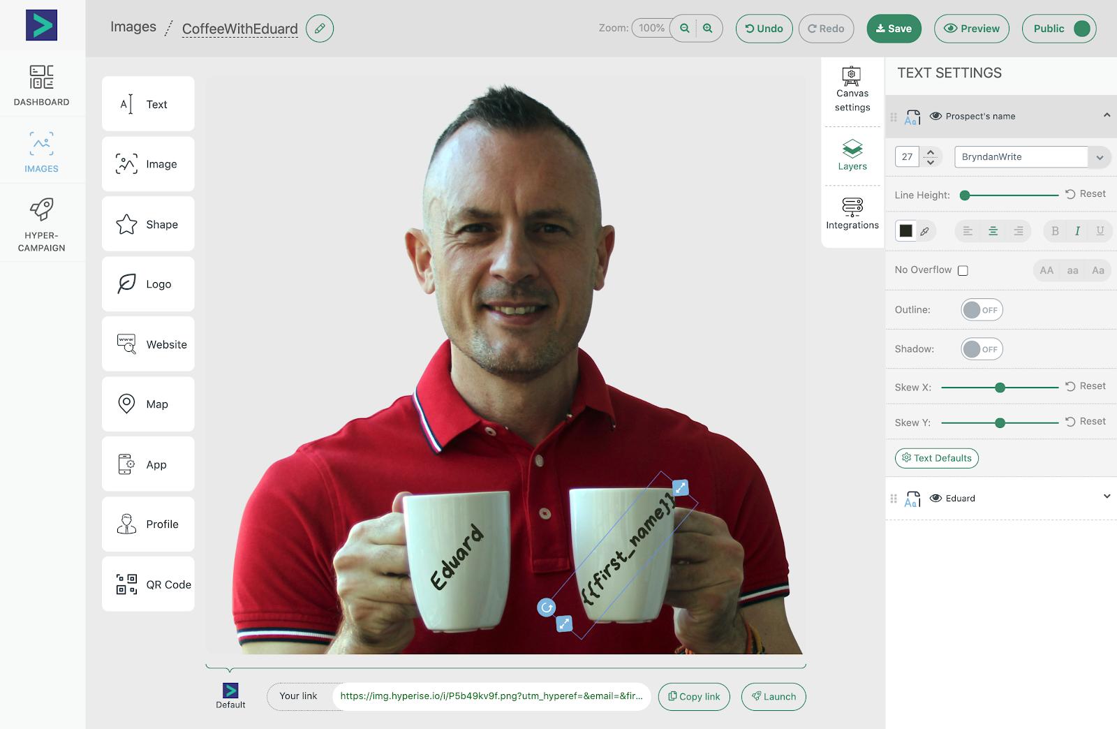 Image personalization design view