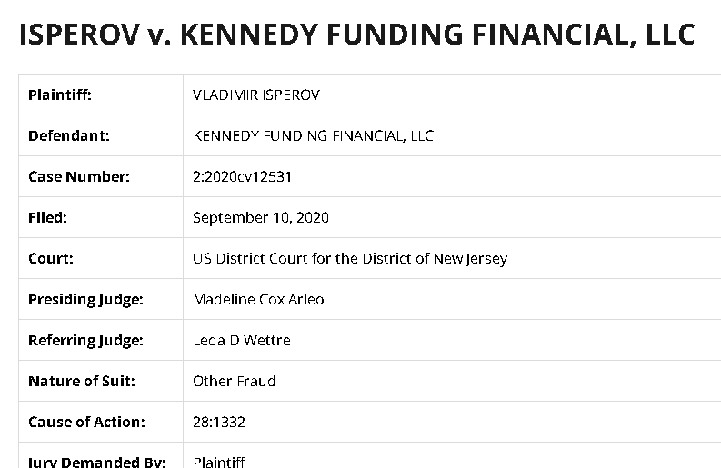 Kennedy Funding Financial lawsuits