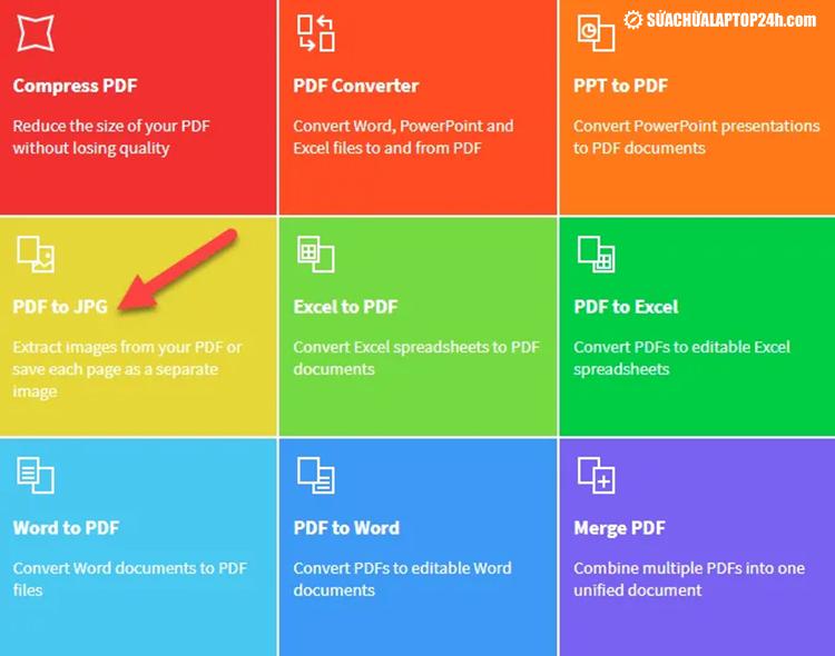 Mở trình chuyển đổi PDF trực tuyến và chọn PDF to JPG