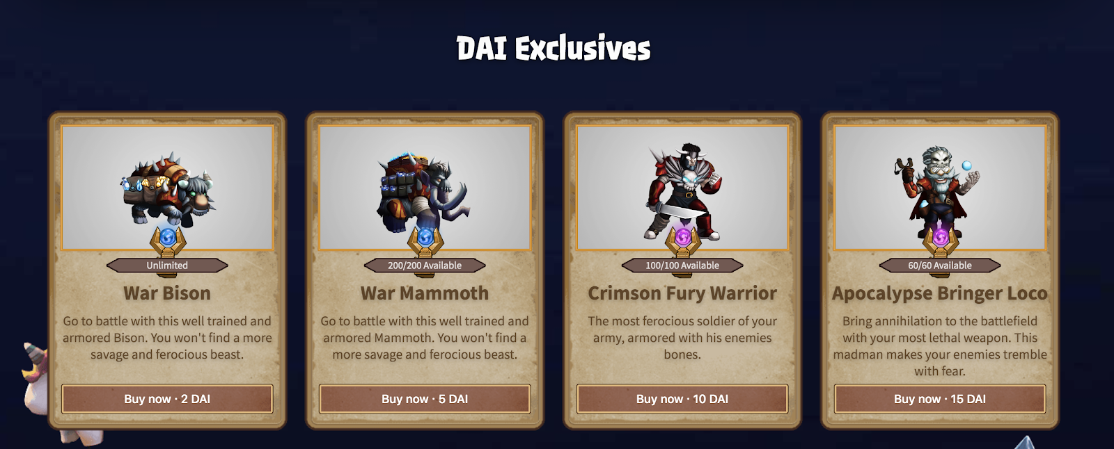 Highlights of the Dai Gaming Initiative include Dai-exclusive NFTs offered in the Cryptowars marketplace.